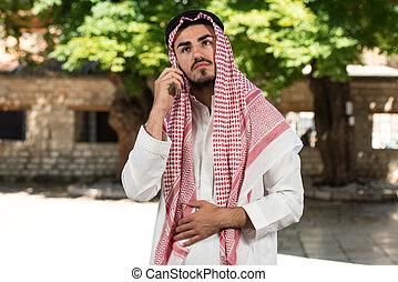 glad, talande, muslimsk, mobiltelefon, man