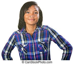 Glad single teenage female in flannel shirt