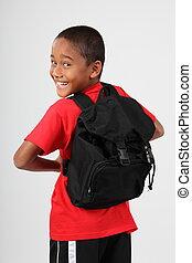 glad, utbilda pojke, med, packa tillbaka