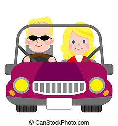 glada leende, par, i en bil