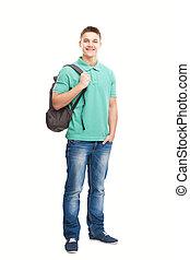 glada leende, student, med, ryggsäck