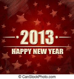 glada nya år, 2013, över, röd, retro, bakgrund, med, stjärnor