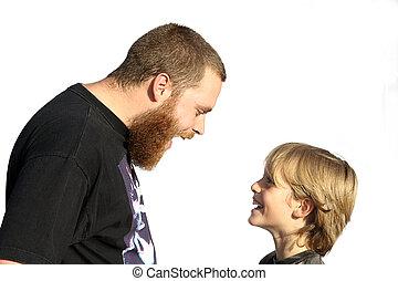 glada släkter, pappa och barn