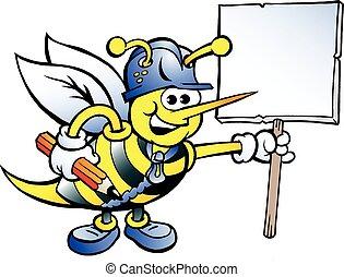 glade, arbejder, bi, holde et tegn
