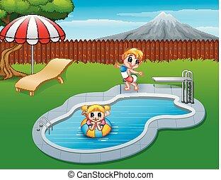 glade, børn, spille, ind, svømmebassinet