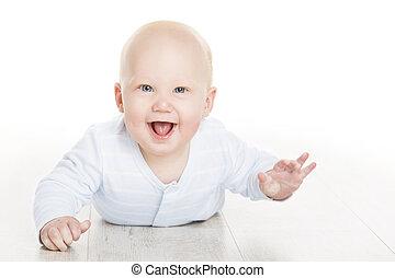 glade, baby dreng, infant, barnet, liggende, på hvide, gulv, smukke, seks, måneder, gamle, barn, isoleret, hen, hvid baggrund