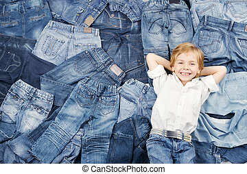 glade, barn, på, jeans, baggrund