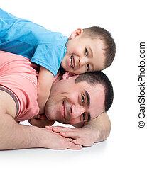 glade, barnet, dreng, og, hans, far, ligge gulvet