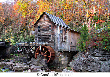 Glade creek grist mill in autumn time  in West Virginia