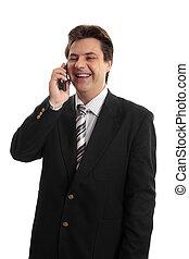 glade, forretningsmand, telefon