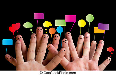 glade, gruppe, i, finger, smileys, 2