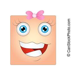 glade, kvindelig ansigt, smiley