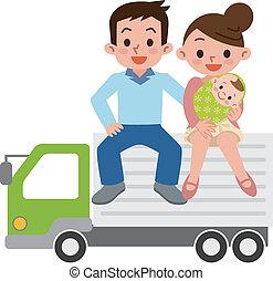 glade, lastbil, familie