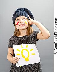 glade, lille pige, hos, en, pære, painted;, begreb, i, gode, ide