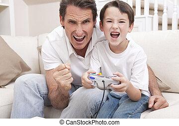 glade, mand, og, dreng, far søn, boldspil spille video
