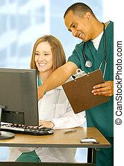 glade, medicinsk bemand, arbejde