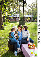 glade, multi, generation, familie, hos, campsite