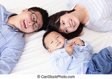 glade, seng, familie, børn