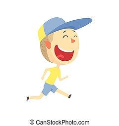 glade smile, cartoon, dreng løbe, børn, outdoor aktivitet, ind, sommer ferie, farverig, karakter, vektor, illustration