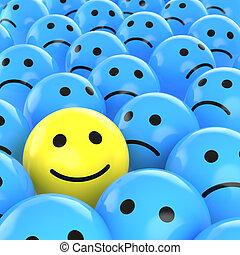 glade, smiley, mellem, sørgelige, ene