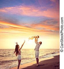 glade, solnedgang, spille, familie, strand