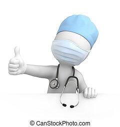 glade, tommelfinger oppe, doktor