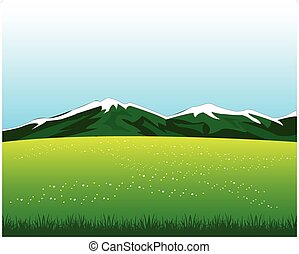 Glade with flower in mountain