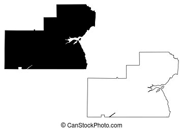 Glades County, Florida (U.S. county, United States of America, USA, U.S., US) map vector illustration, scribble sketch Glades map