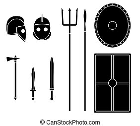gladiador, armas, e, armaduras, set., antiga, guerreira, equipment.