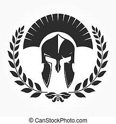 gladiator, ιππότης , εικόνα , με , δάφνη γιρλάντα
