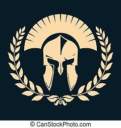 gladiator, περίγραμμα , με , δάφνη γιρλάντα