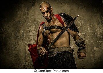 gladiator, cubierto, sangre, espada, herido