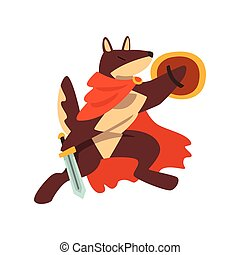Gladiator dog character fighting with sword and shield vector Illustration on a white background