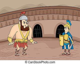 Gladiator Fight - Illustration Featuring Gladiators Facing ...