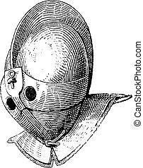 Gladiator helmet of galea vintage engraving. Old engraved...