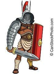 Gladiator - Illustration of Roman gladiator in full battle...