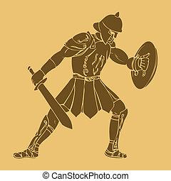 Gladiator in carved style illustration