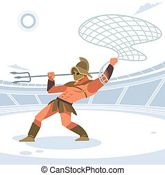 Gladiator in the arena with a grid and a Trident attacks. Vector isolated illustration. Flat cartoon style