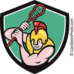 Gladiator Lacrosse Player Stick Crest Cartoon - Illustration...