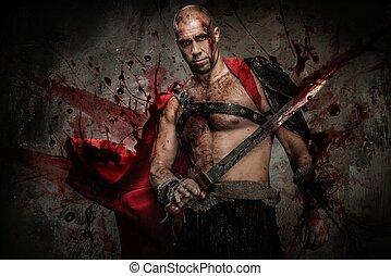 gladiator, pokryty, krew, miecz, ranny