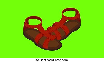 Gladiator sandals icon animation cartoon best object on green screen background