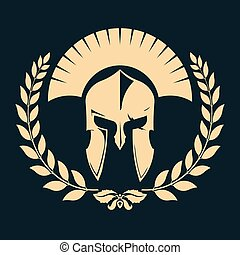 Gladiator silhouette with laurel wreath - Knight silhouette...