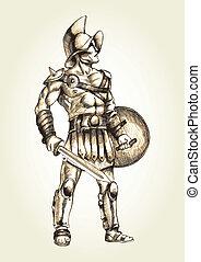Gladiator - Sketch illustration of a gladiator