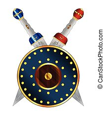 Gladiator Swords Crossed Over A Round Shield