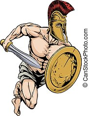 Gladiator warrior sports mascot - An illustration of a...