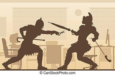 gladiators, bureau, illustration