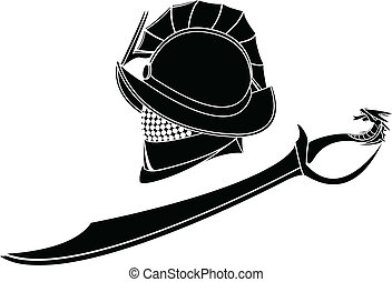 gladiators helmet and sword. stencil. vector illustration