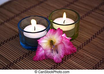 gladiola and candles