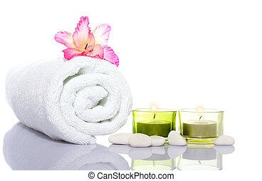 gladiola, serviette, et, blanc, rivière, pierres