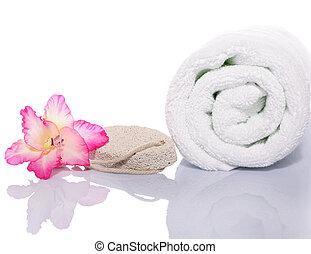 gladiola, serviette, et, pierre ponce, rocher, blanc, fond